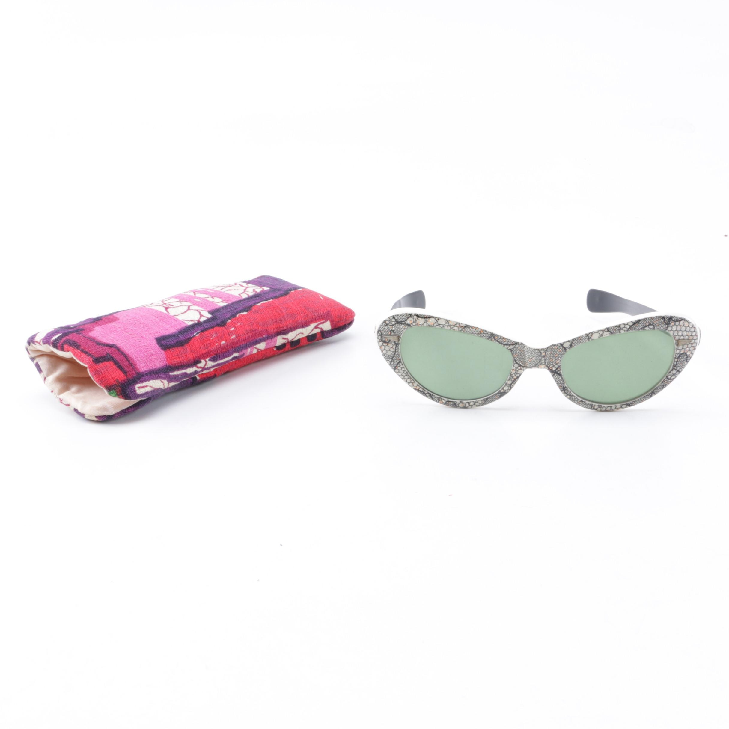 Vintage White Cat Eye Sunglasses by Cool-Ray