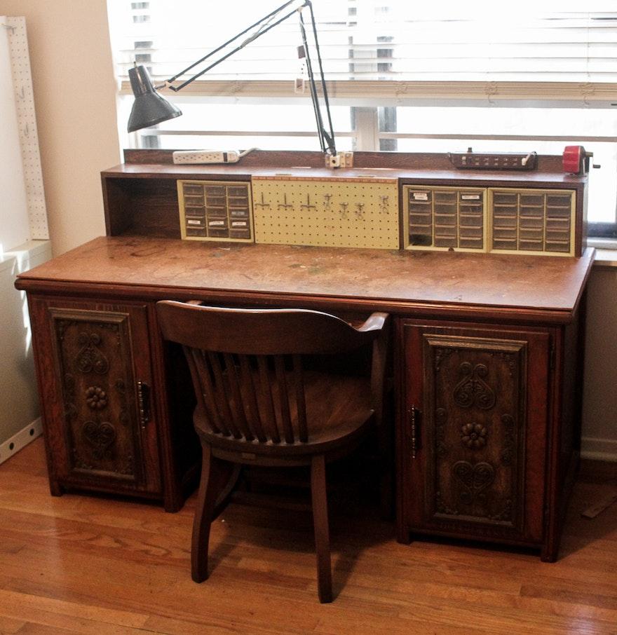 Vintage Work Desk ... - Vintage Work Desk : EBTH