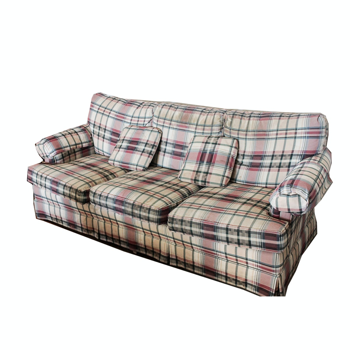 Plaid Upholstered Sofa by Drexel Heritage