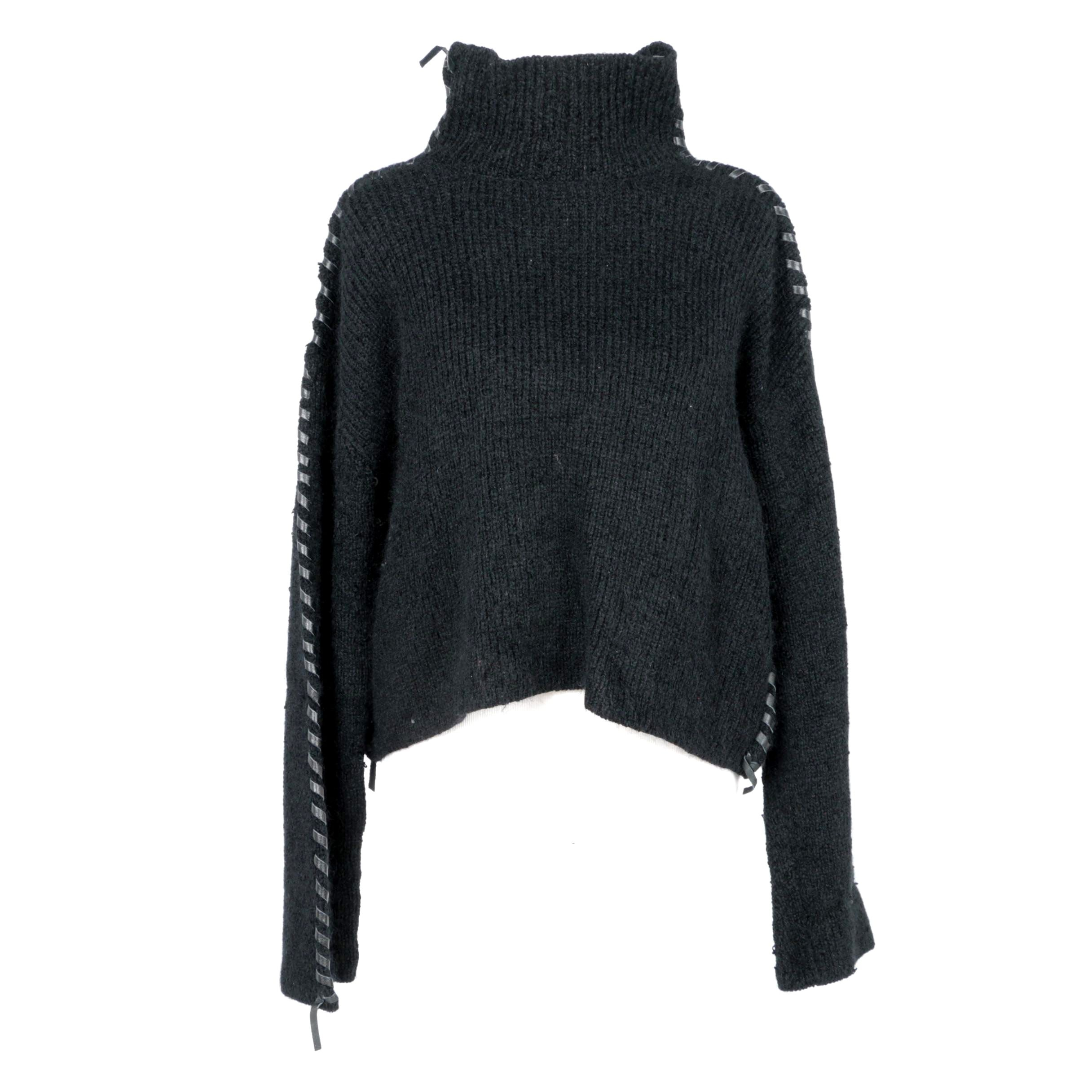 Issey Miyake Leather Embellished Sweater