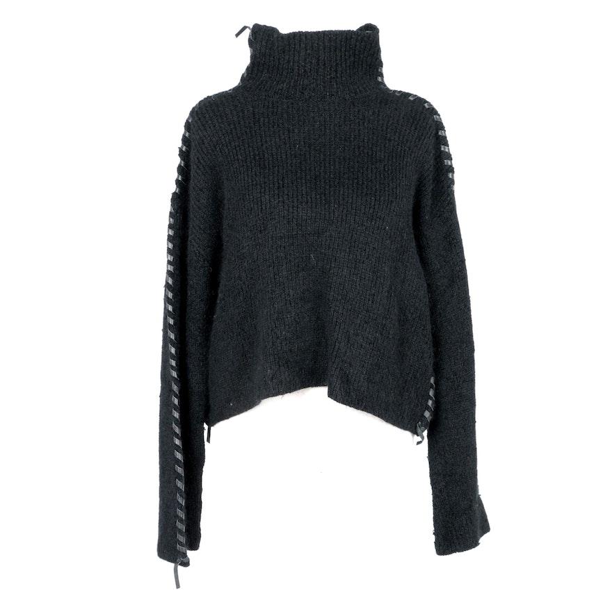Issey Miyake Leather Embellished Sweater