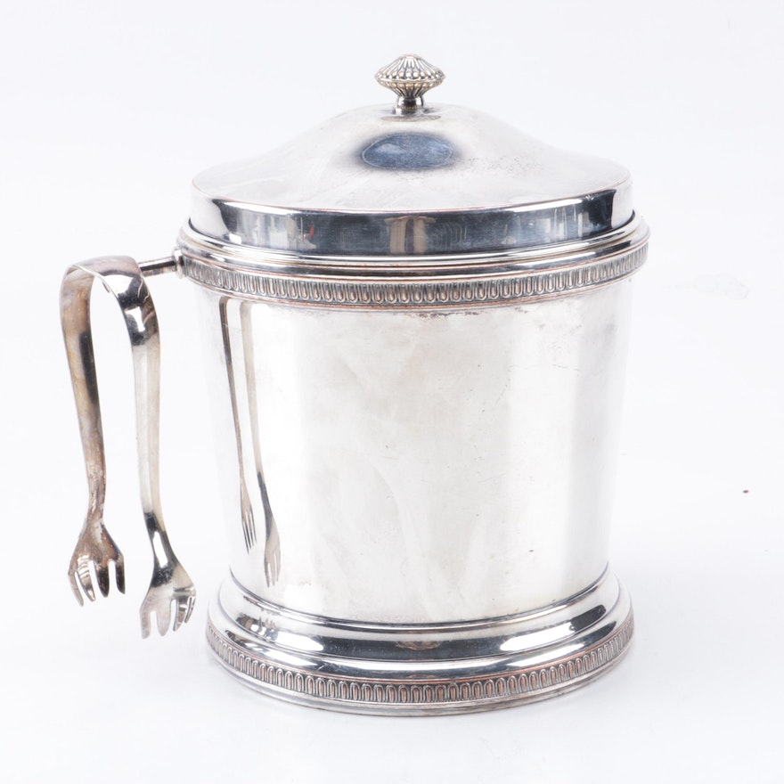 Apollo Silver Plate Ice Bucket With Tongs