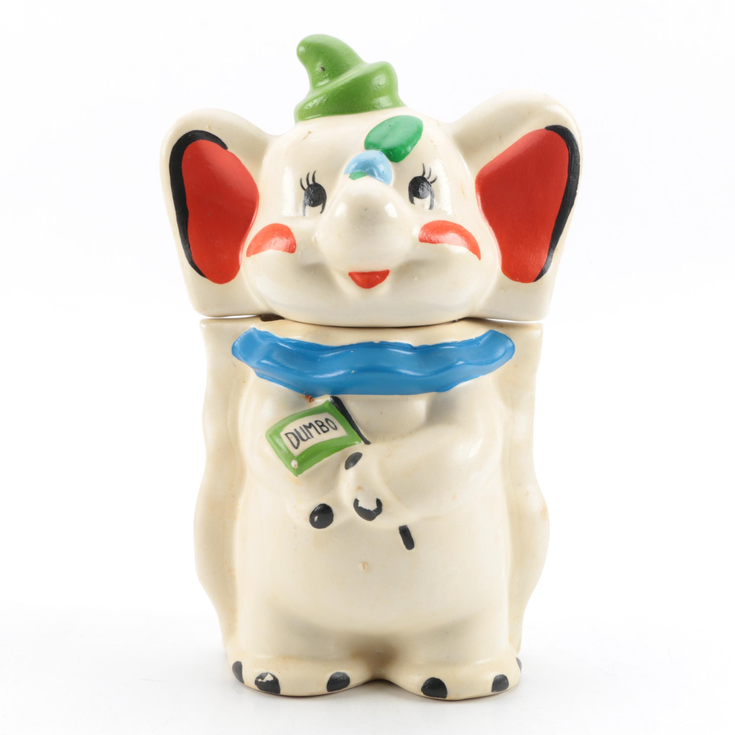 """Vintage """"Turnabout"""" Double Sided Dumbo Cookie Jar"""