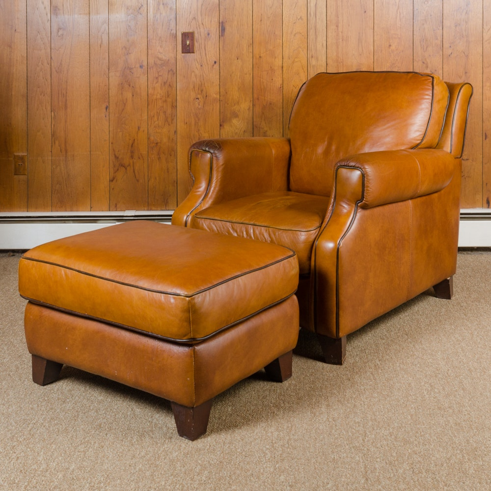 Bassett Furniture Leather Armchair And Ottoman ...