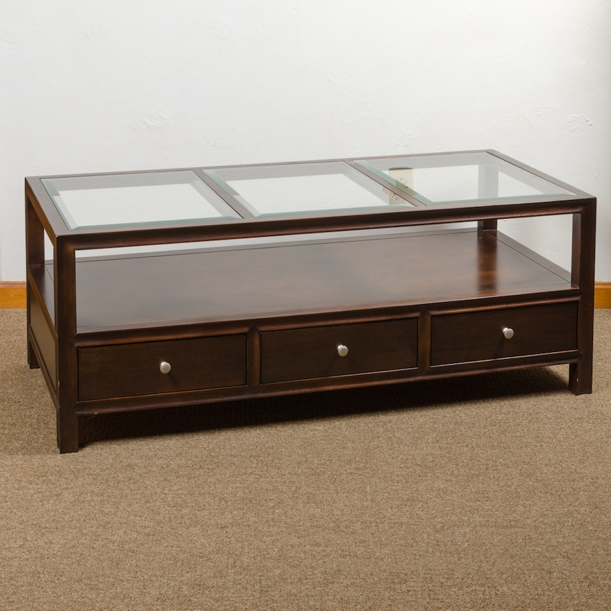 Bassett Furniture Glass Top Coffee Table Ebth