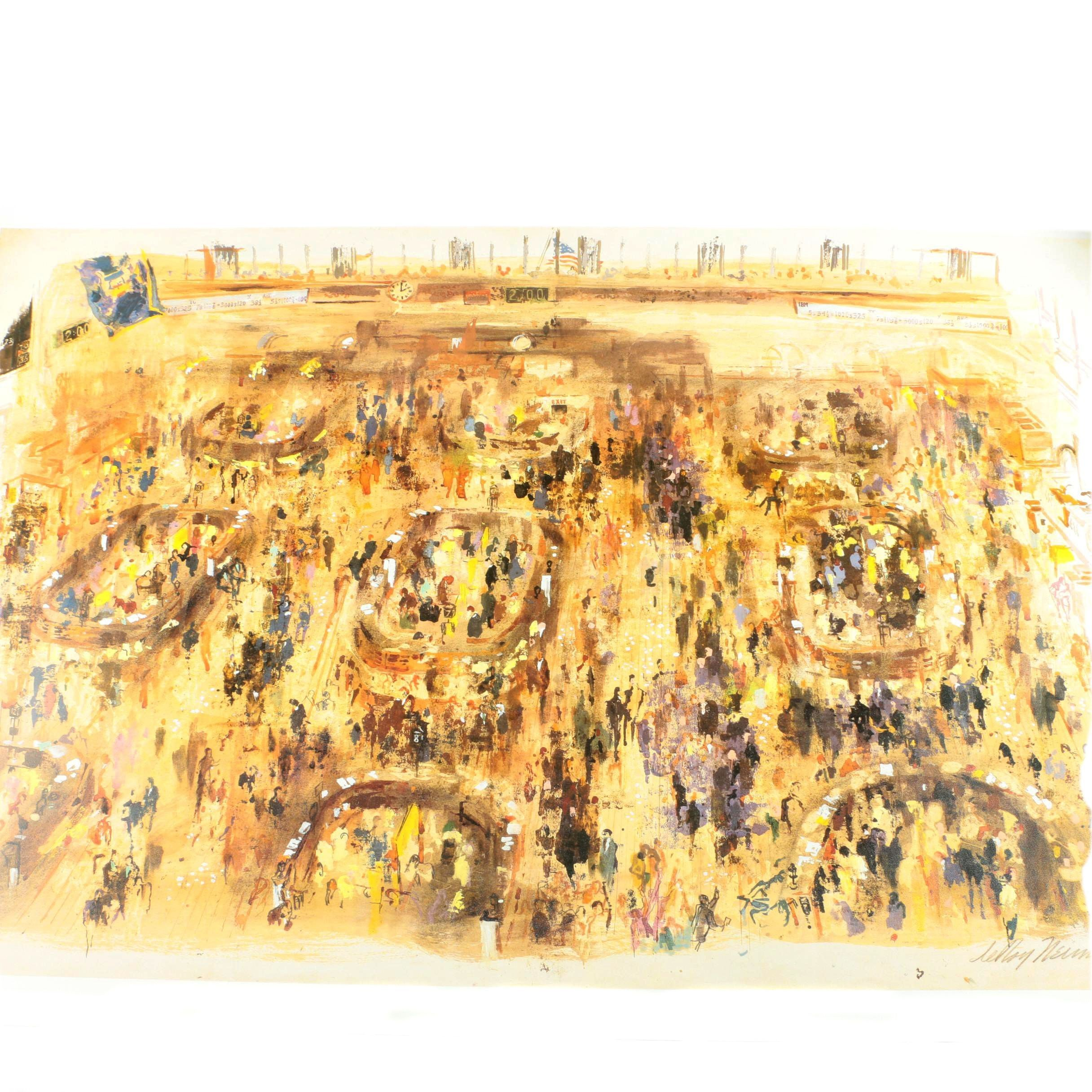 "Reproduction Print After LeRoy Neiman's ""New York Stock Exchange"""