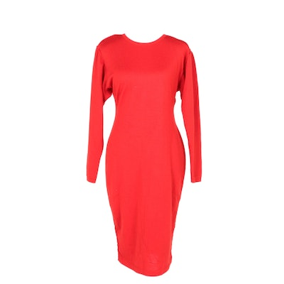Alaïa Red Knit Day Dress