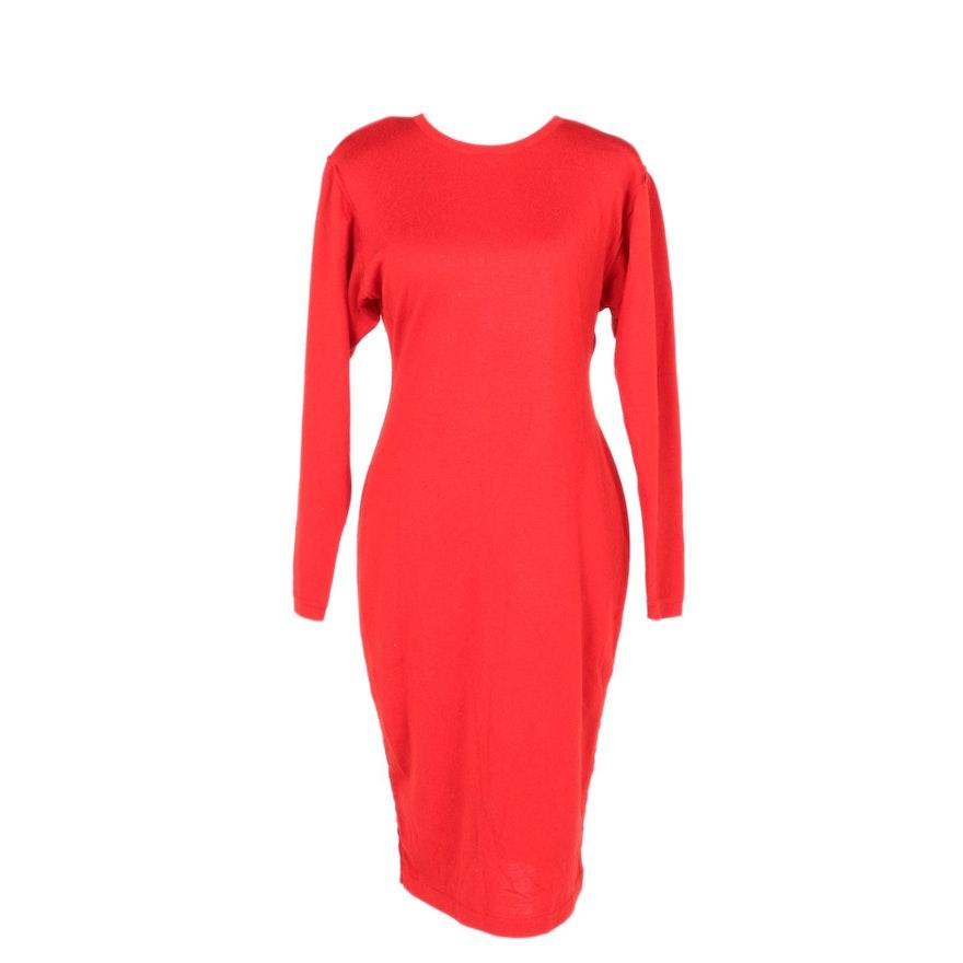 Alaïa Red Knit Day Dress
