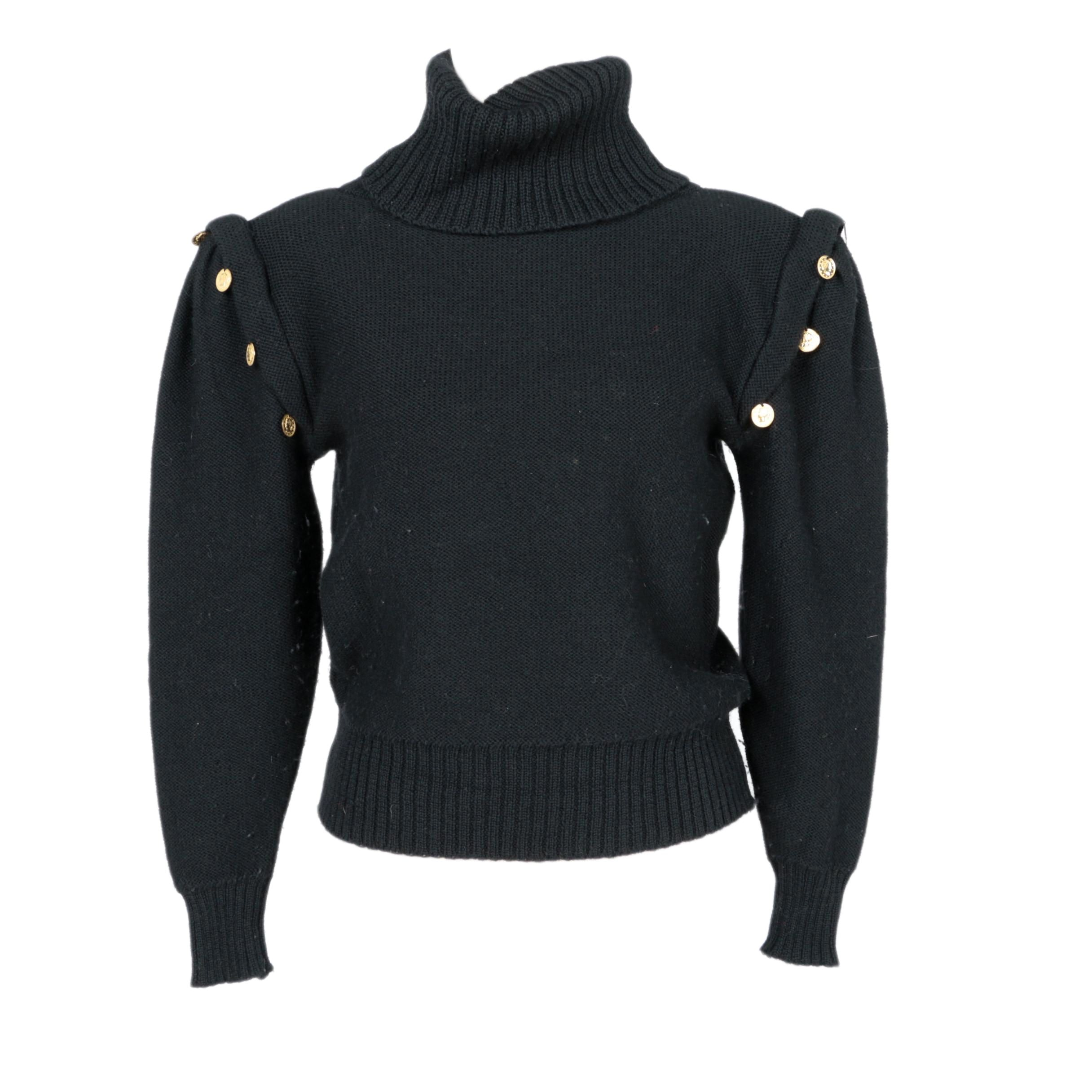 Women's I. Magnin Black Wool Turtleneck Sweater : EBTH
