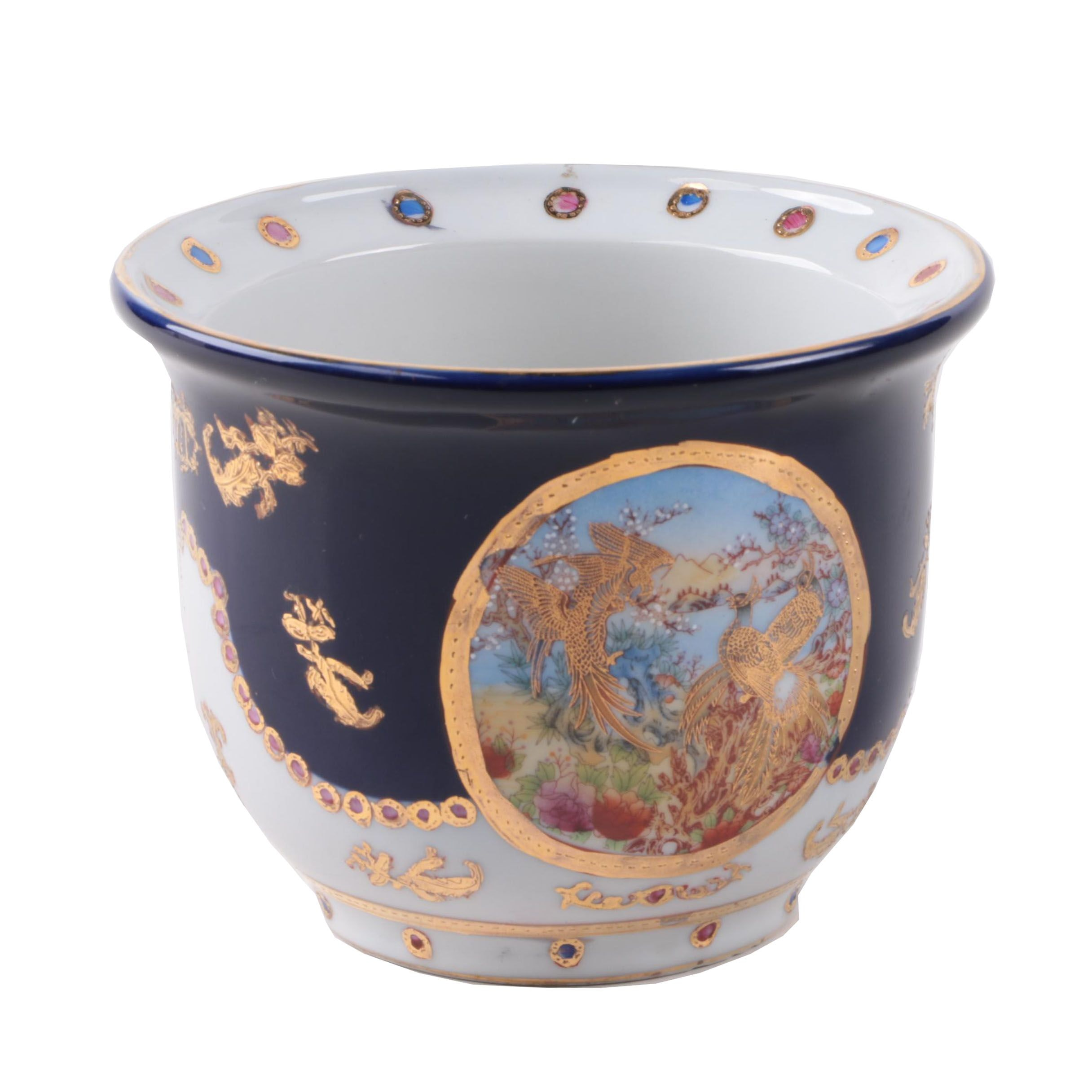 Asian Inspired Dark Blue Ceramic Planter