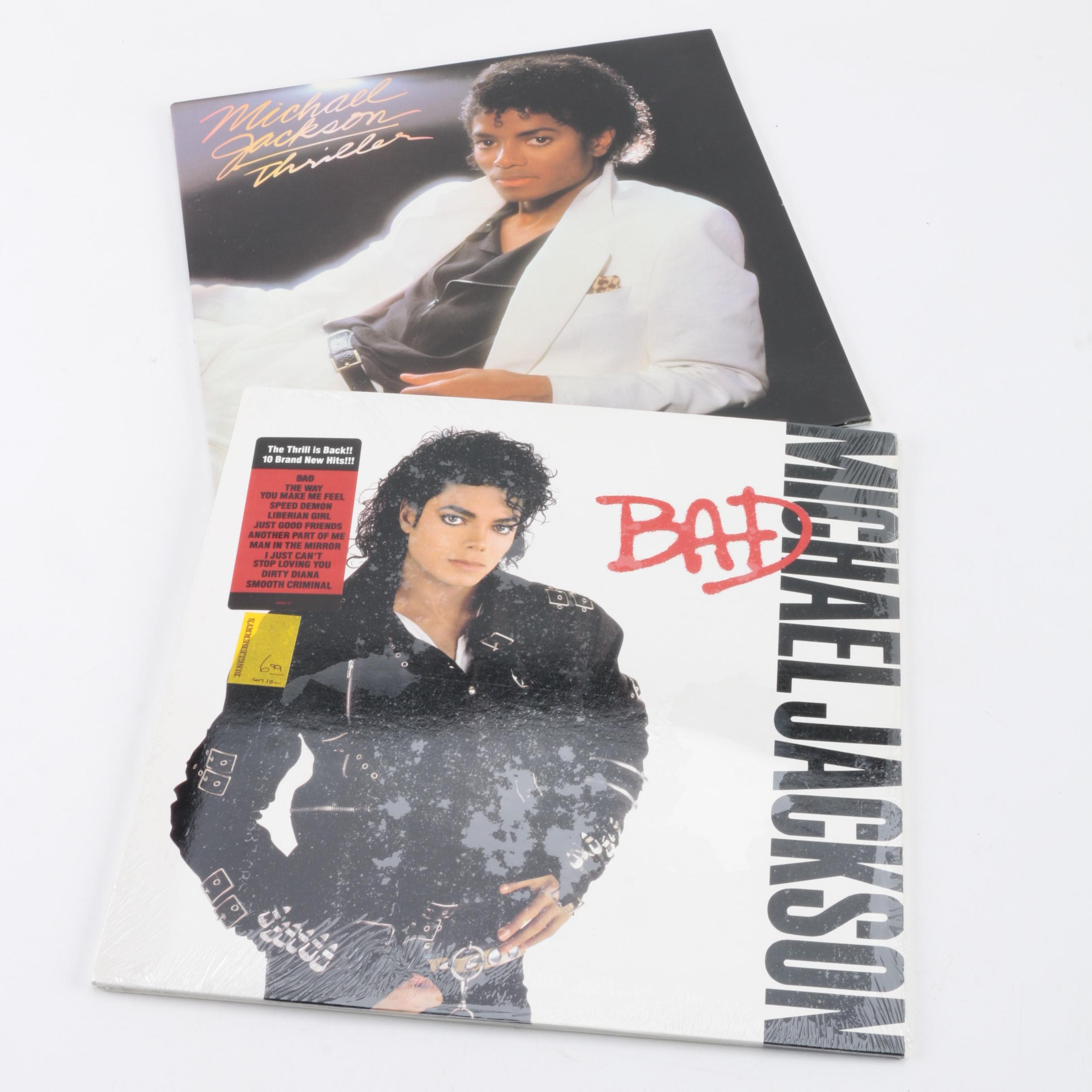 """Michael Jackson """"Bad"""" and """"Thriller"""" LPs"""