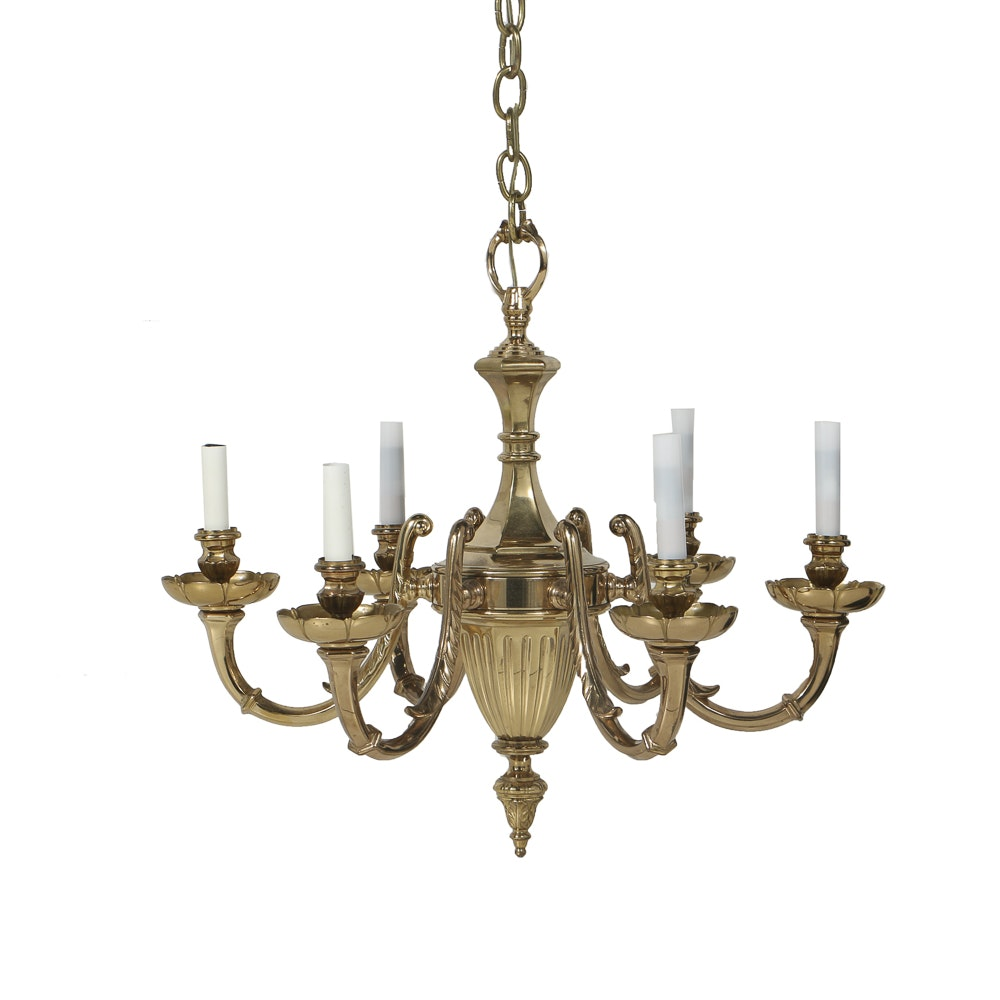 Brass Six Arm Chandelier with Two Sets of Shades