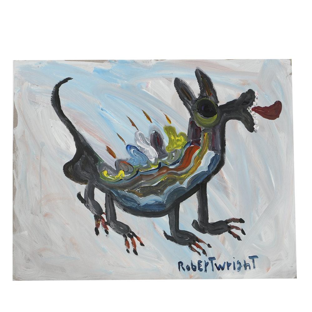 Robert Wright Oil Painting on Paper Folk Art Creature