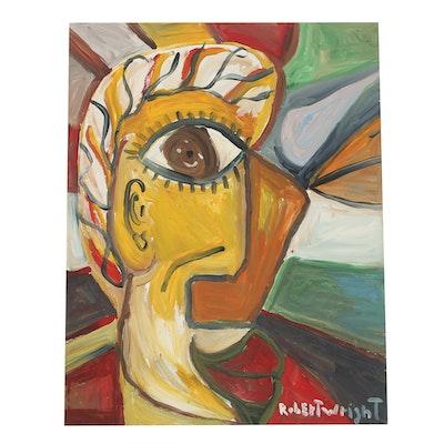 Robert Wright Oil Painting on Paper Folk Art Abstract Portrait