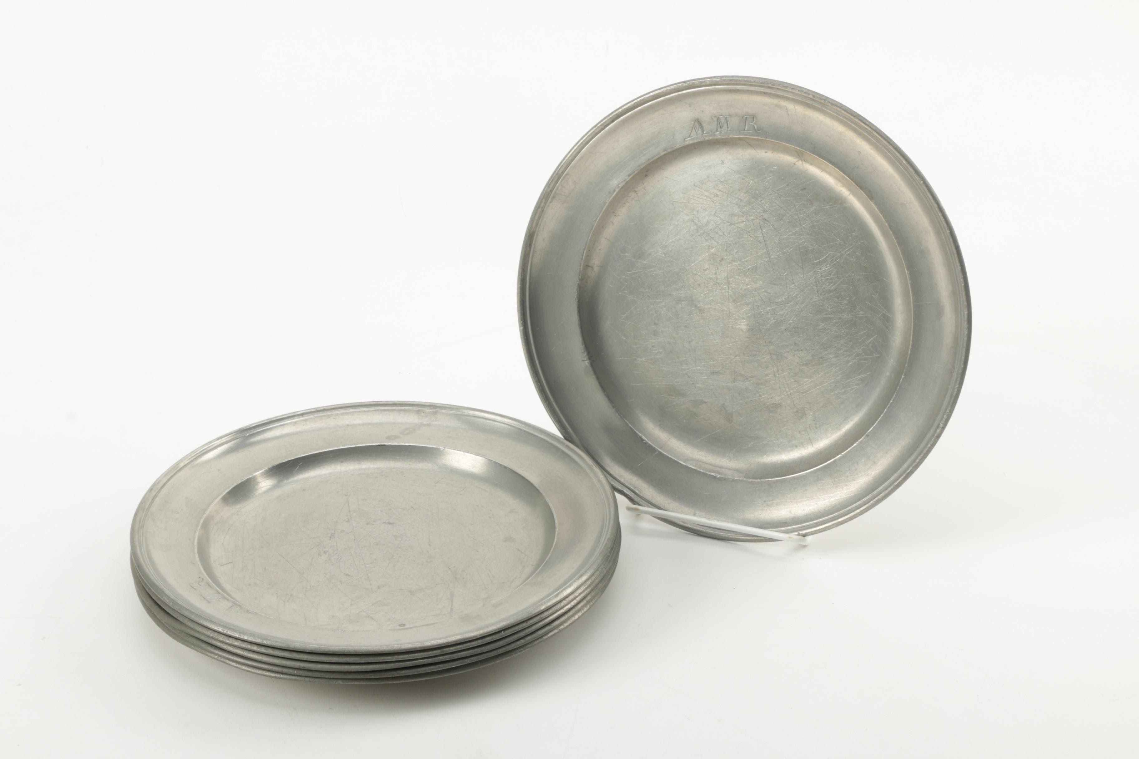 Set of Personally Engraved Pewter Dinner Plates ... & Set of Personally Engraved Pewter Dinner Plates : EBTH