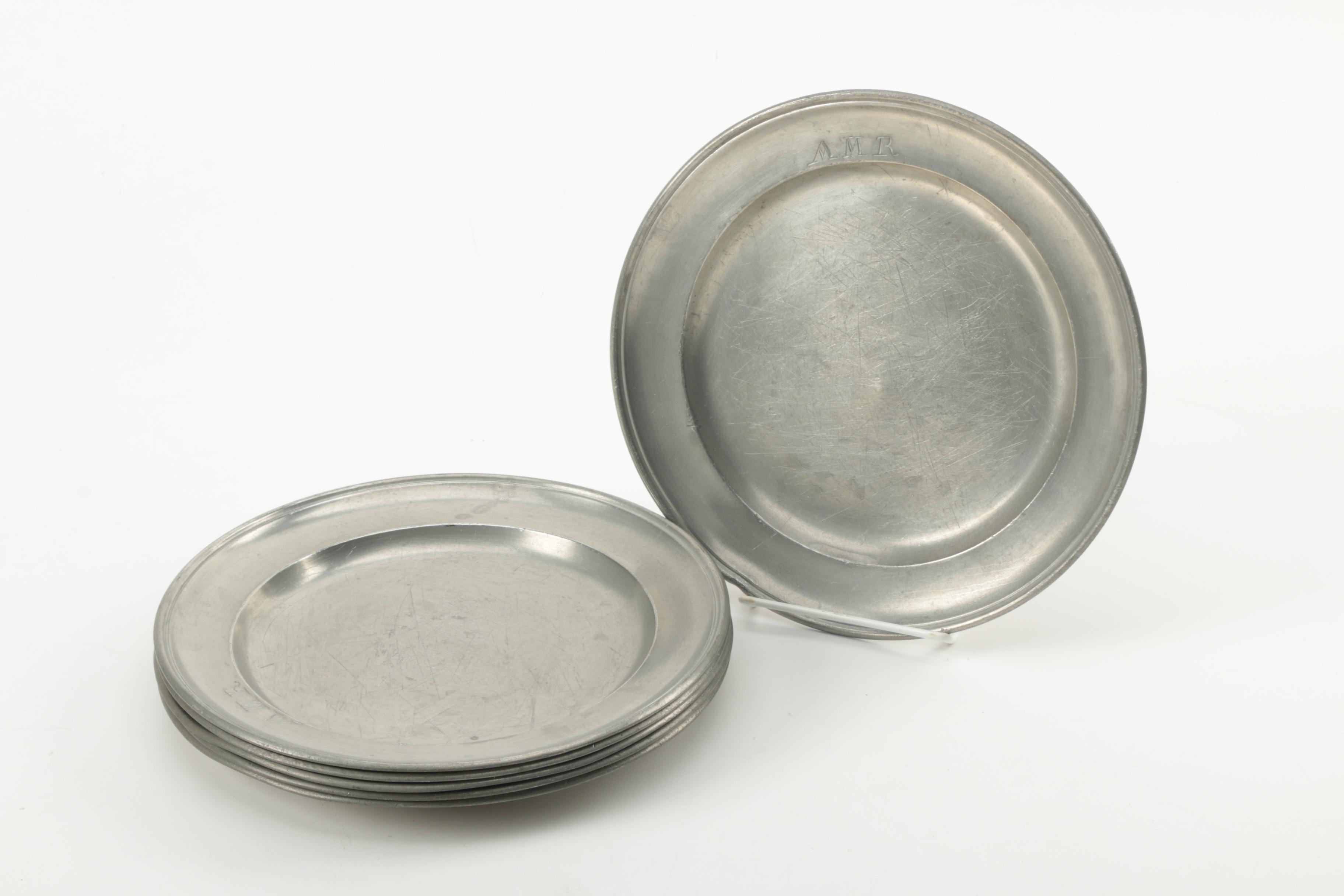 Set of Personally Engraved Pewter Dinner Plates ... & Set of Personally Engraved Pewter Dinner Plates : EBTH
