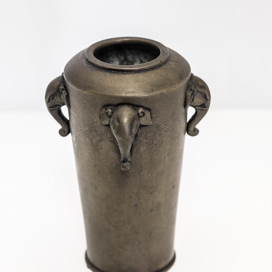 Japanese Bronze Elephant Vase Ebth