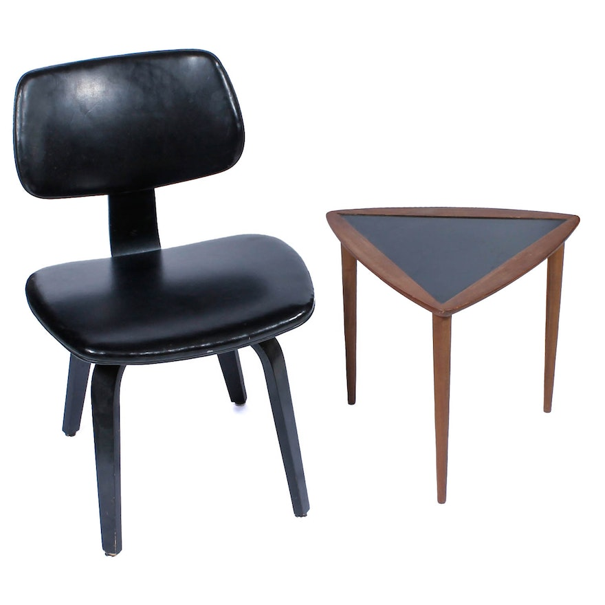 mid century modern thonet bentwood chair and umanoff style triangle