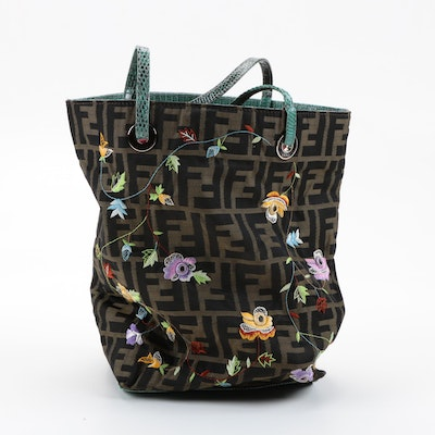 Fendi Zucca Canvas Tote with Floral Embroidery