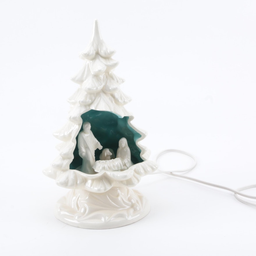 Ceramic Christmas Tree With Nativity Scene Inside