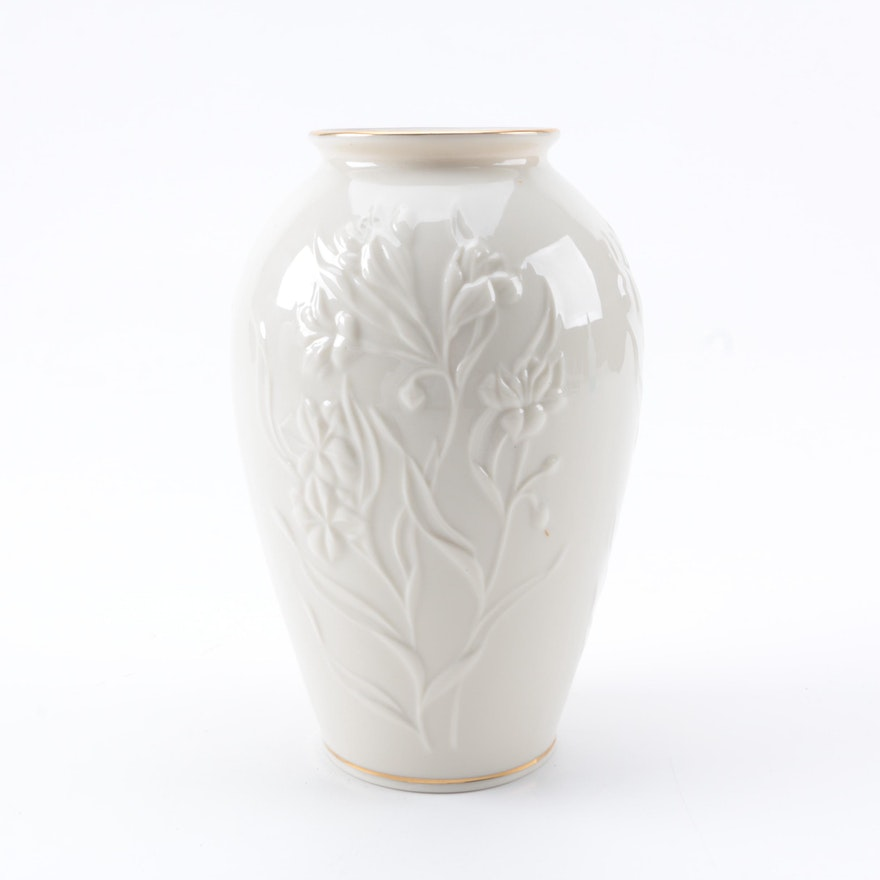 Lenox Porcelain Vase With A Raised Floral Motif Ebth