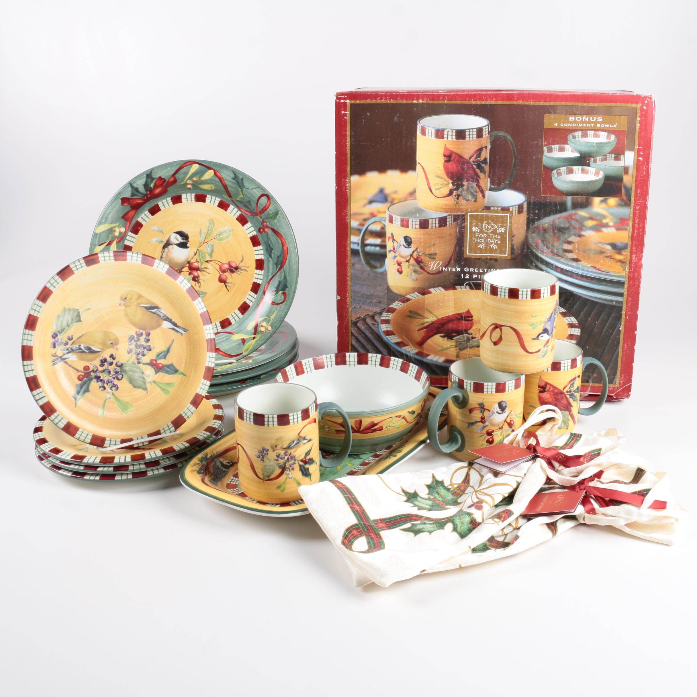 Collection of Lenox \ Winter Greetings Everyday\  Dinnerware ... & Collection of Lenox \