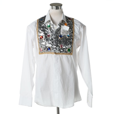 Women's Donna Ann White Sequin Button Down Shirt