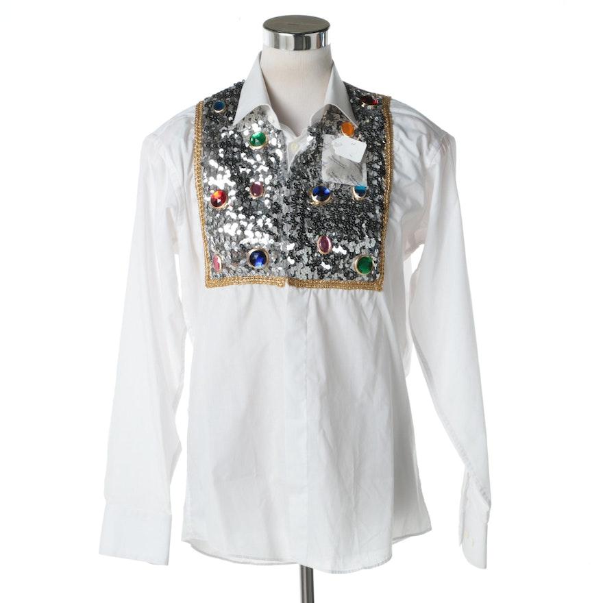 Women's Donna Ann White Sequin Button Down Shirt