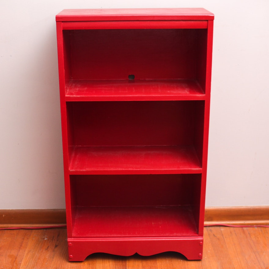 Red Painted Wooden Bookcase
