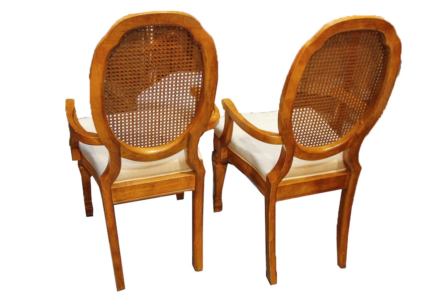 Vintage louis xvi style cane back dining chairs by