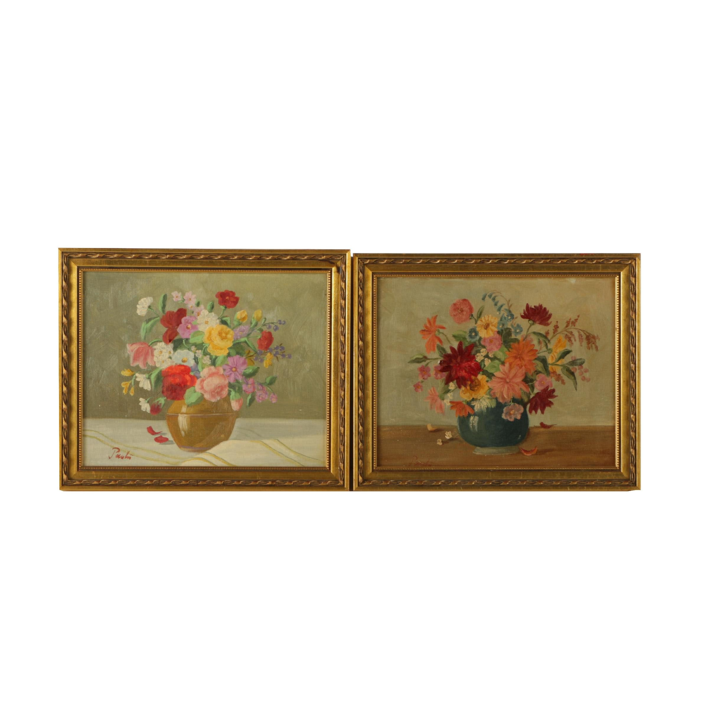 Signed Oil on Canvas Floral Still Life Paintings
