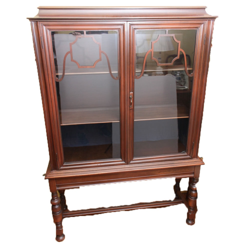 Antique Glass Front Walnut Display Cabinet ...
