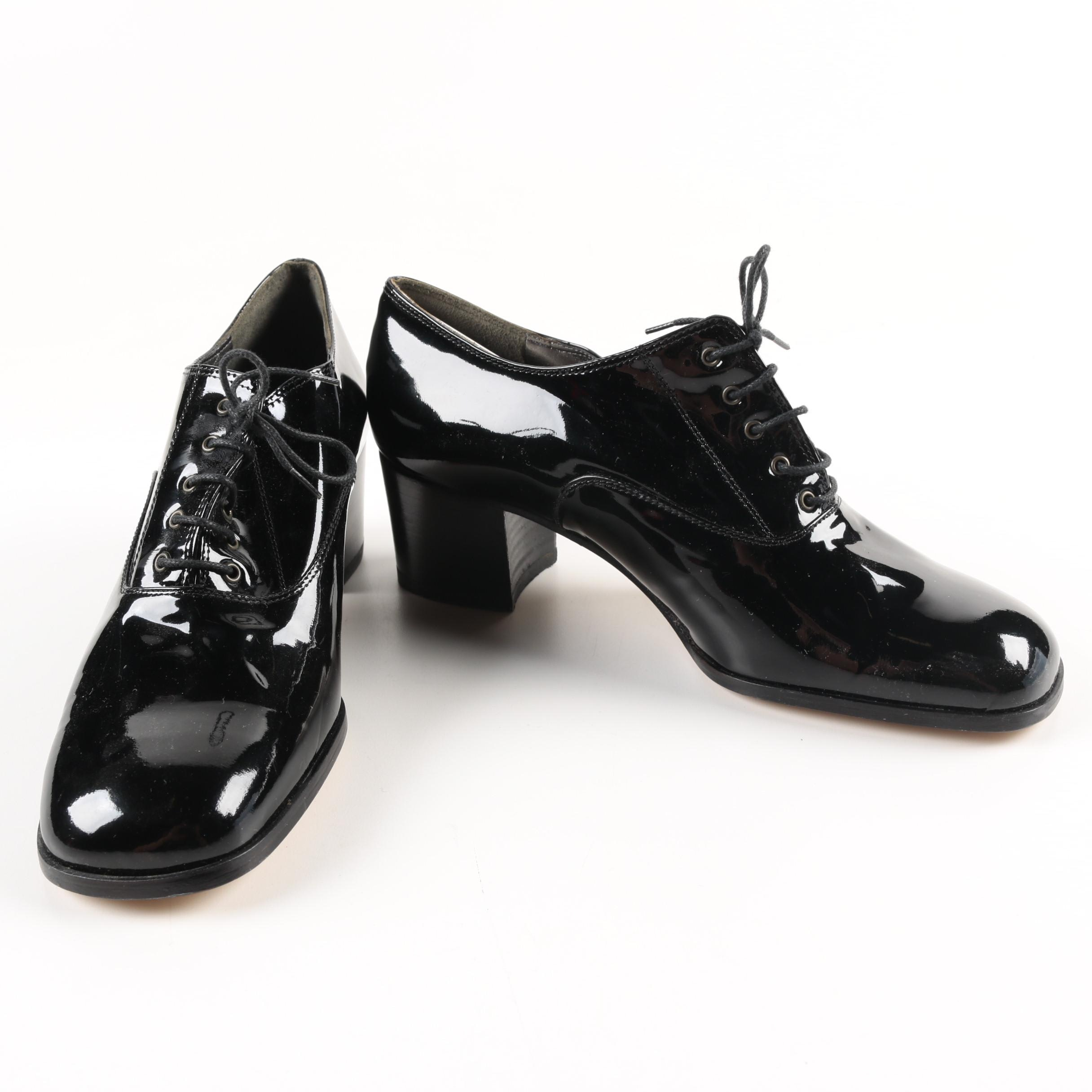 Fred Hayman Patent Leather Heeled Oxfords