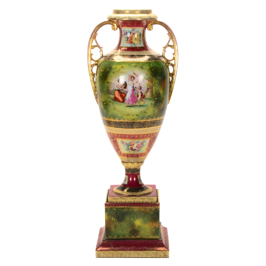 Ackermann And Fritze Royal Vienna Style Porcelain Urn Ebth