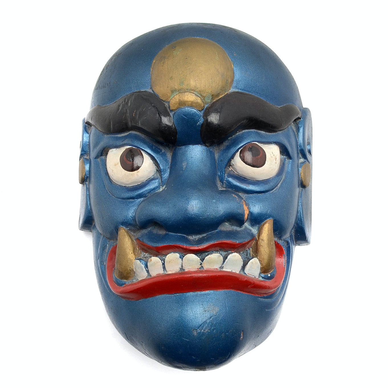 Southeast Asian Painted Carved Wood Mask