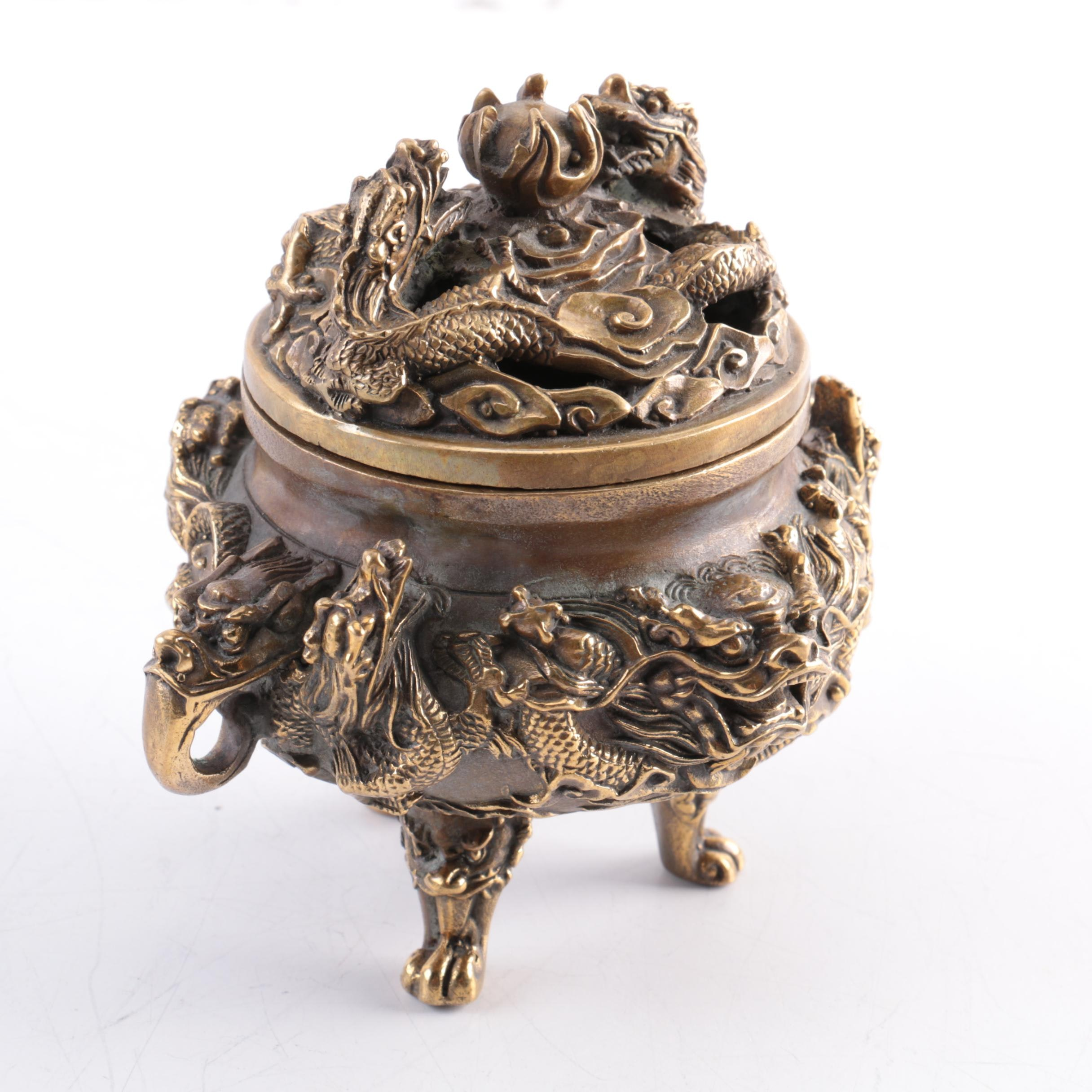 Vintage Chinese Bronze Censer Depicting Dragons Chasing The Flaming Pearl