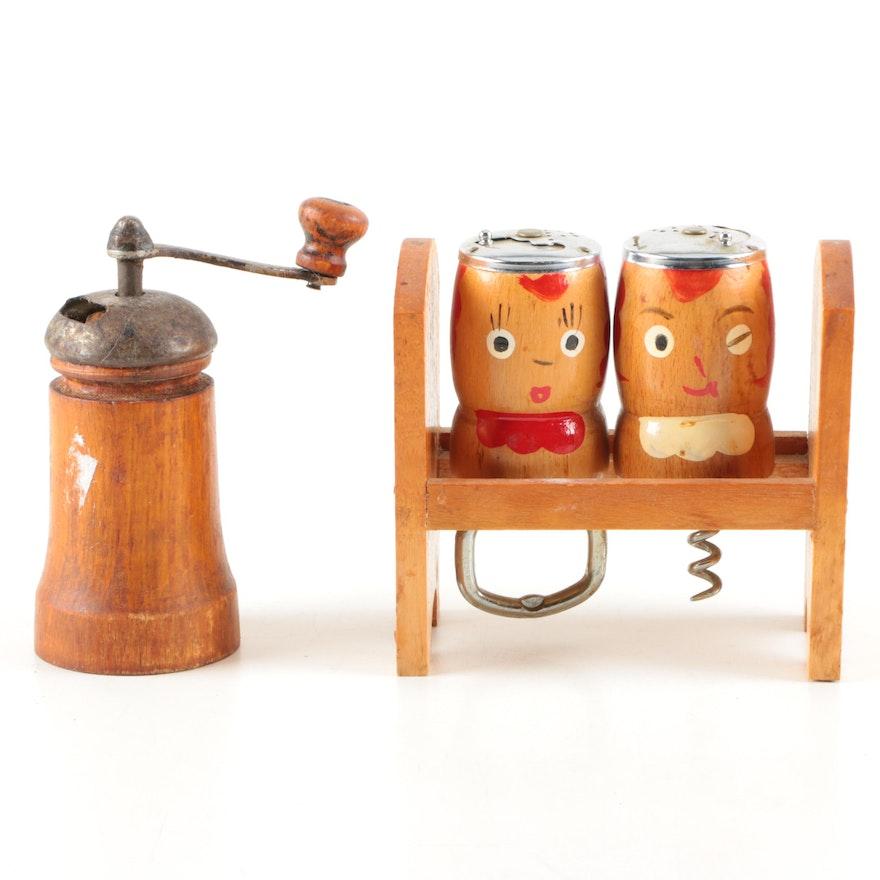 Mid-Century Modern Condiment Shaker Bottle Opener, Corkscrew and Pepper Grinder