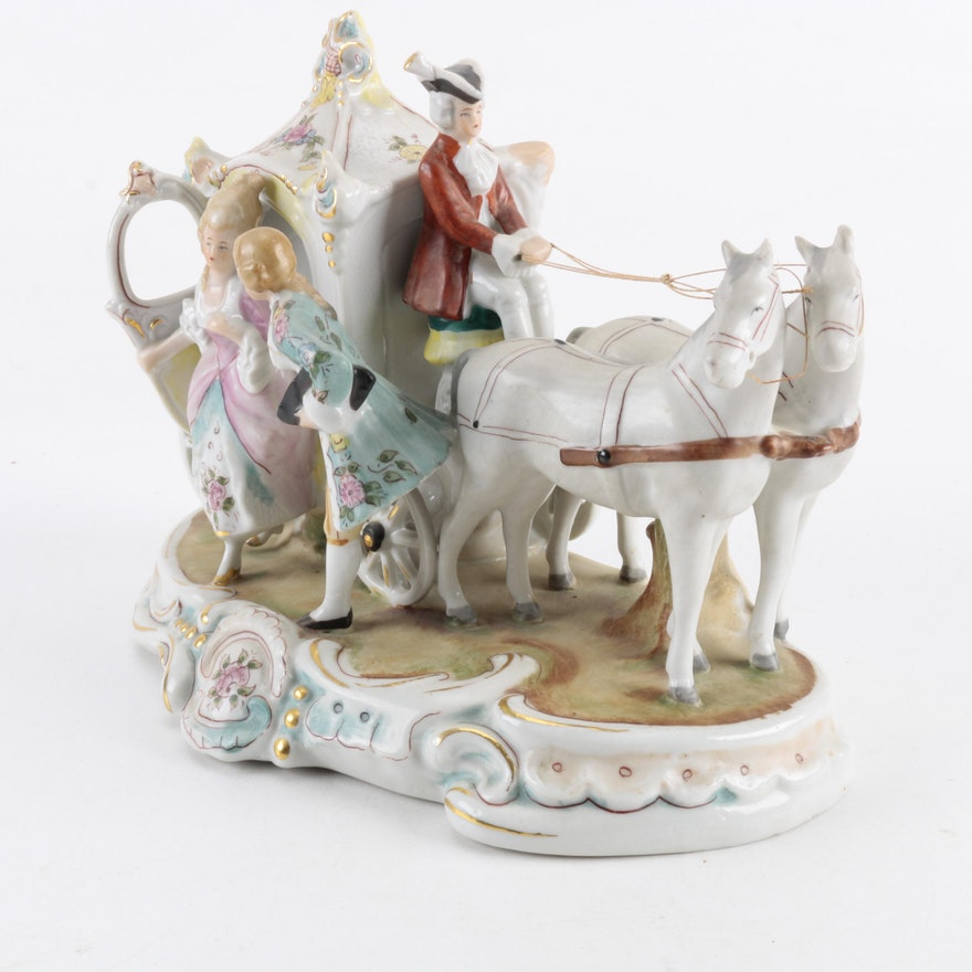 Vintage Carl Schneiders Erben Horse And Carriage Porcelain