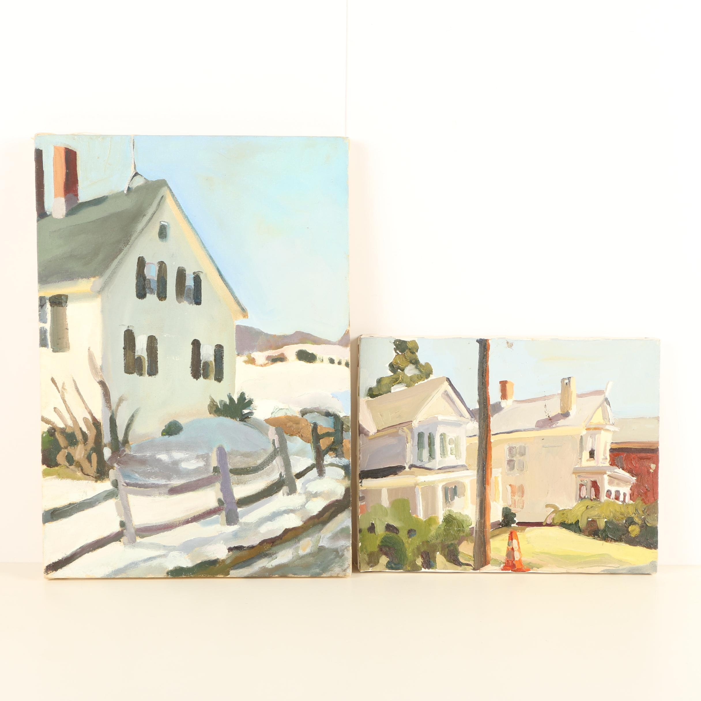 Pair of Oil Paintings on Canvas of Historic Country Homes