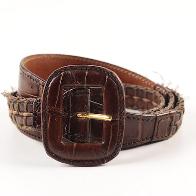 Giorgio Armani Crocodile Trimmed Leather Belt