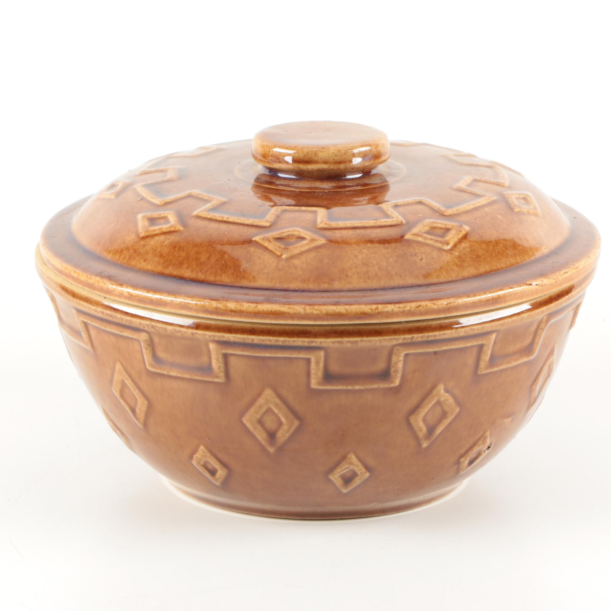 Brown Vintage Lidded Stoneware Bowl
