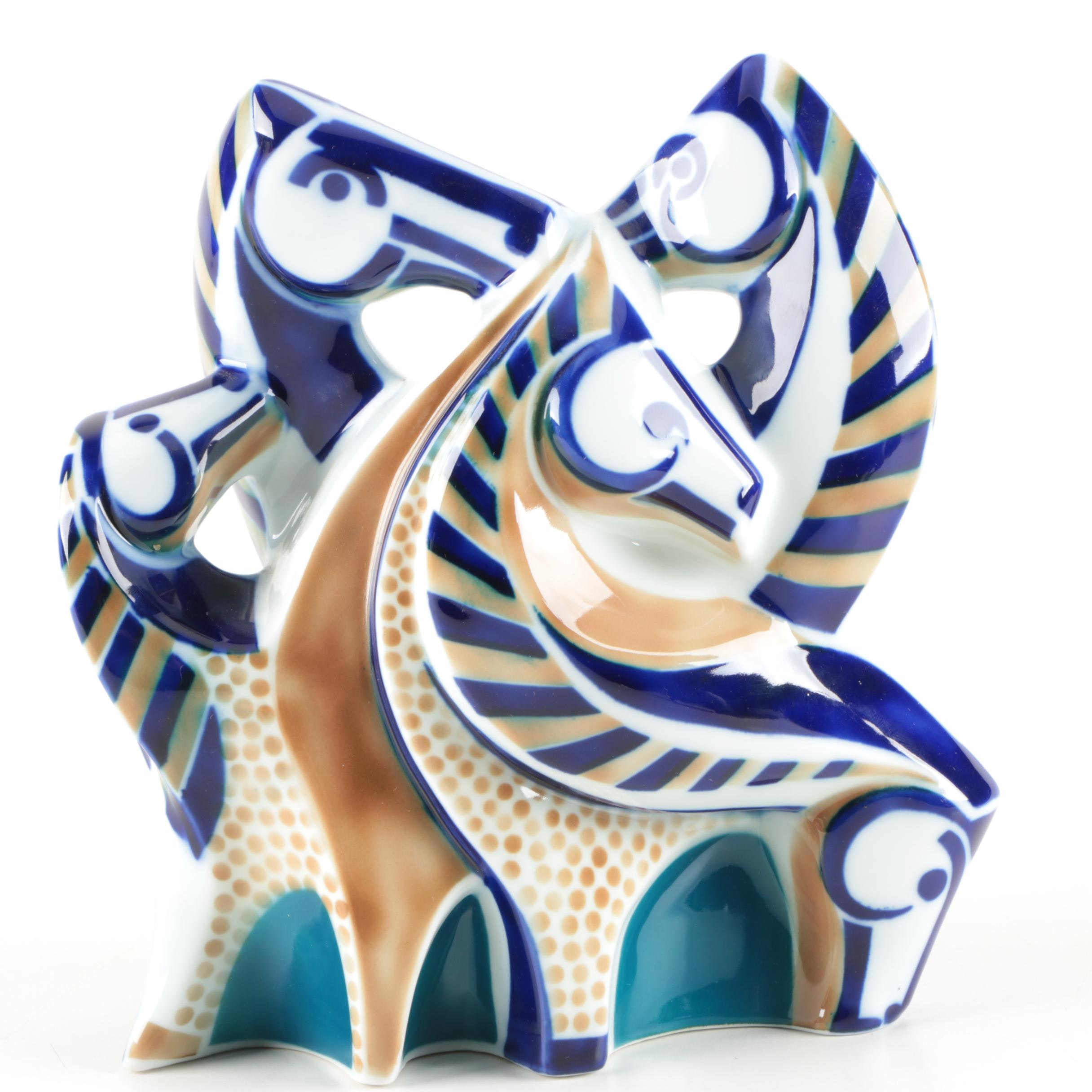 "Sargadelos ""San Lucas Horses"" Porcelain Figurine"