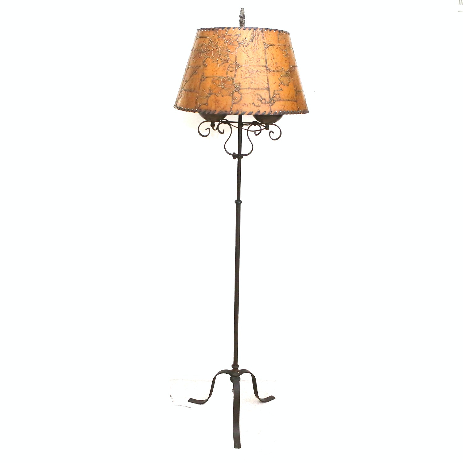 Metal Floor Lamp with Faux Leather Shade
