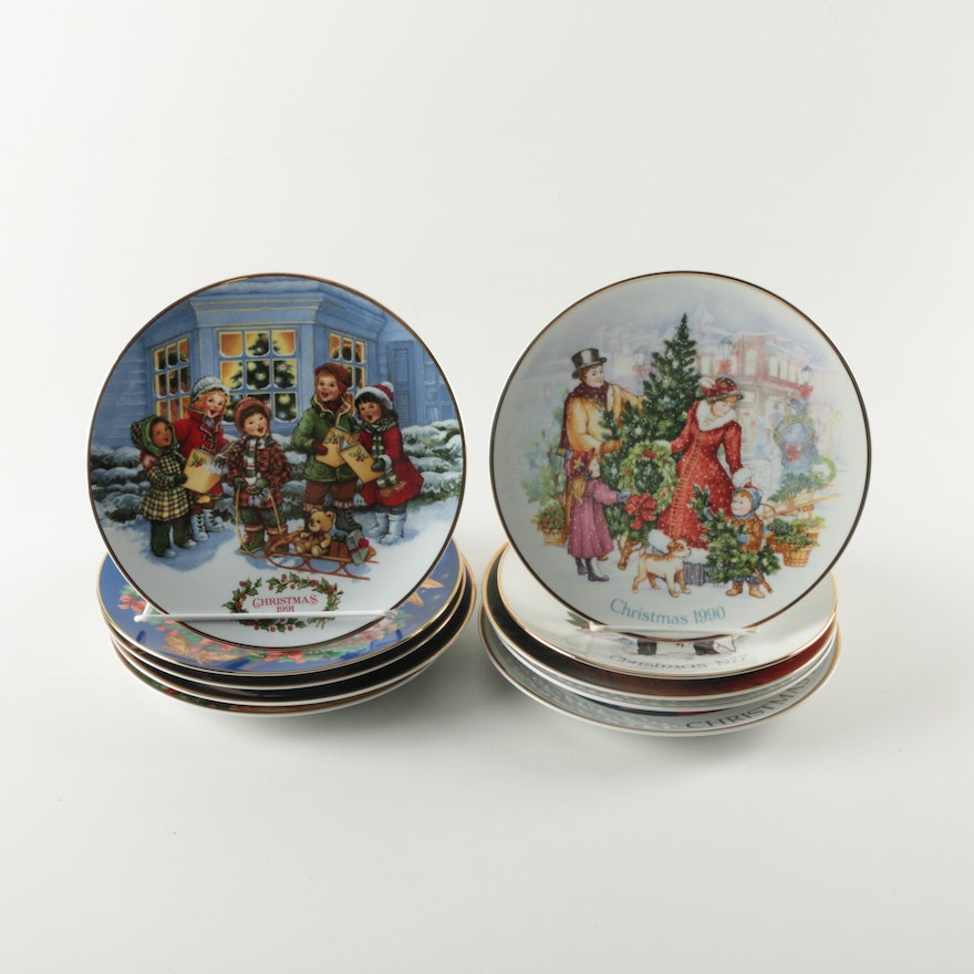 collection of avon christmas plates