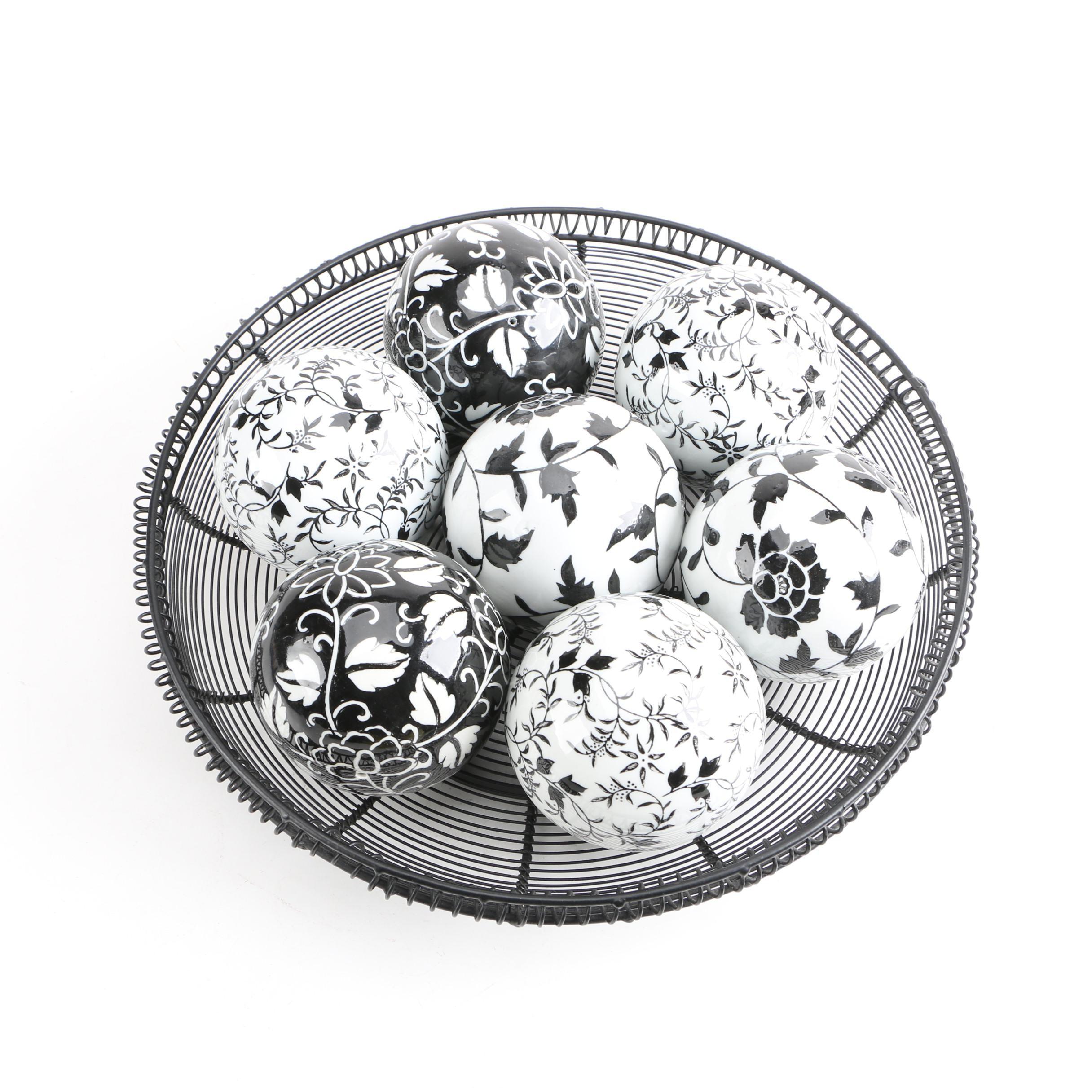 Black And White Decorative Ceramic Balls Endearing Black And White Decorative Ceramic Carpet Balls And Wire Basket  Ebth Design Decoration