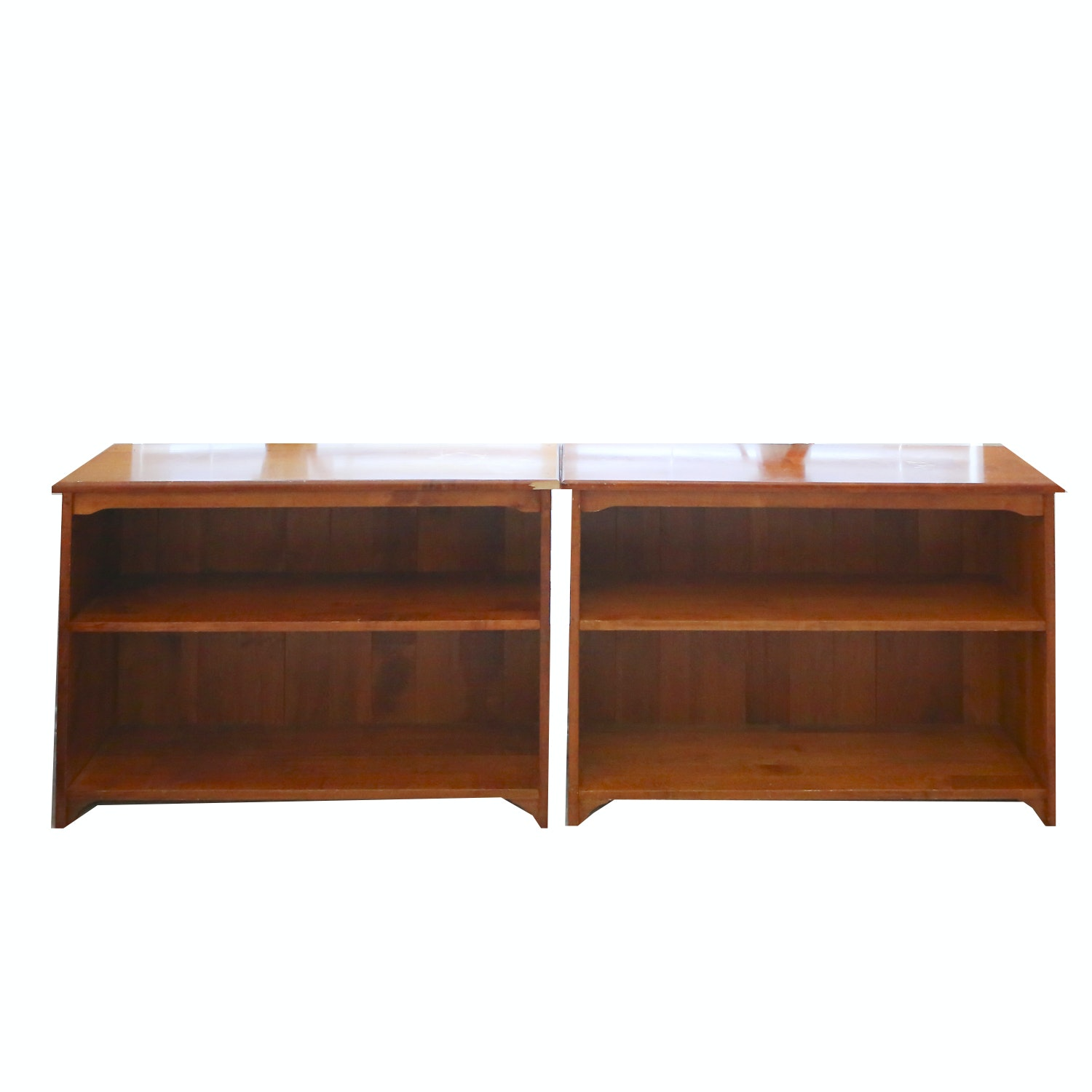 Pair of Low Wooden Shelves