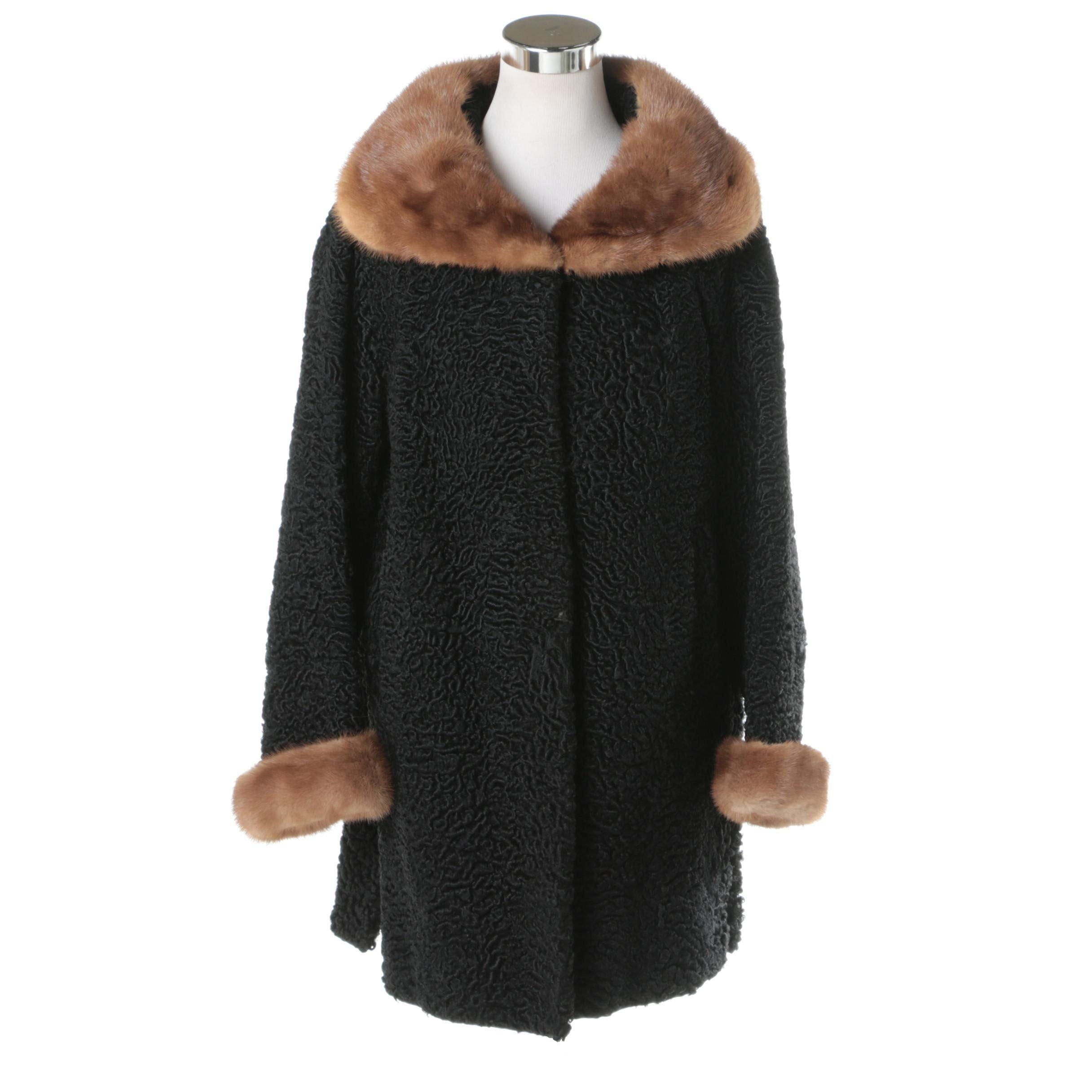Schiaparelli Black Persian Lamb Fur Coat with Mink Fur Trim