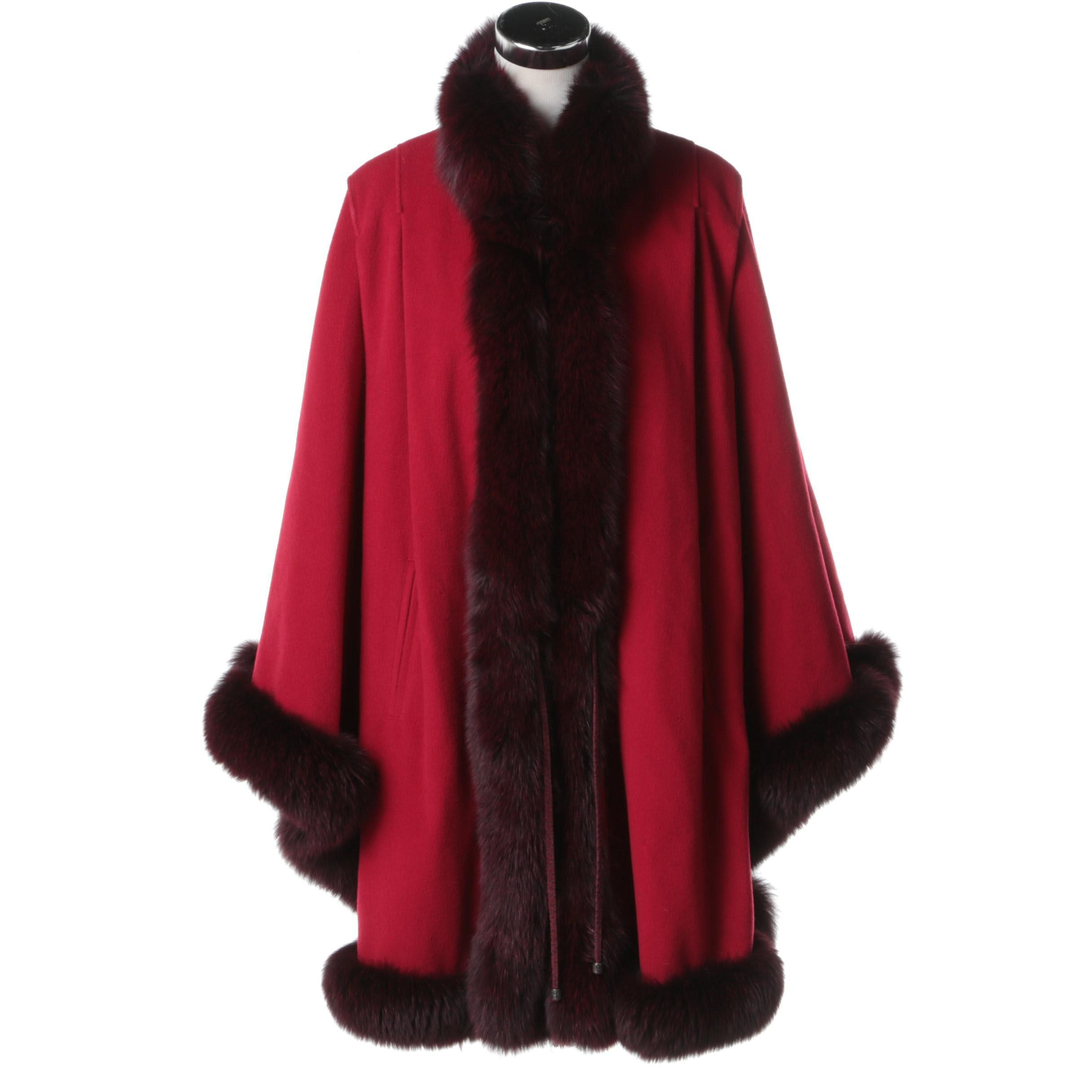 Red Wool Poncho with Dyed Fox Fur Trim