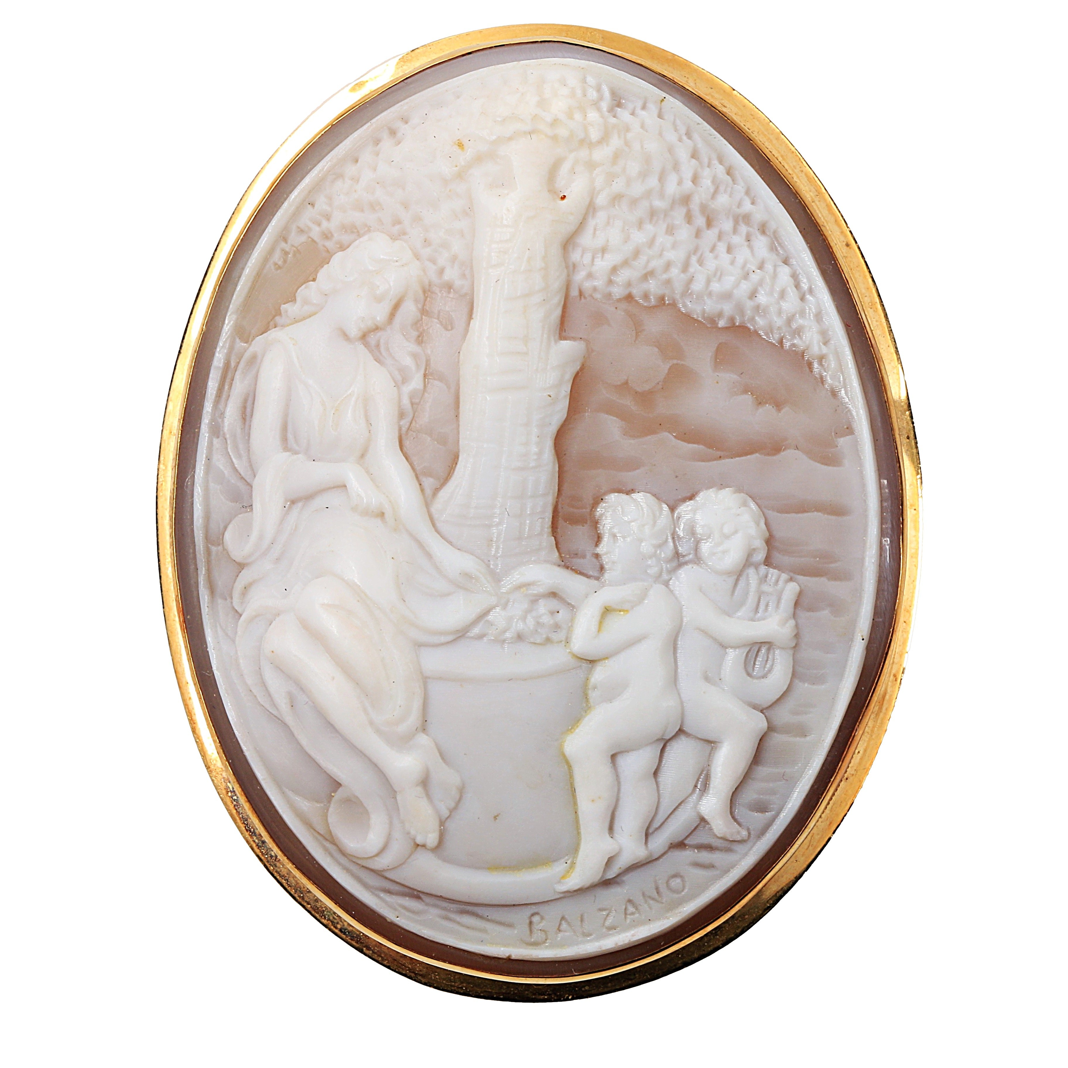 Carved Shell Cameo Converter Brooch in 18K Yellow Gold Mount