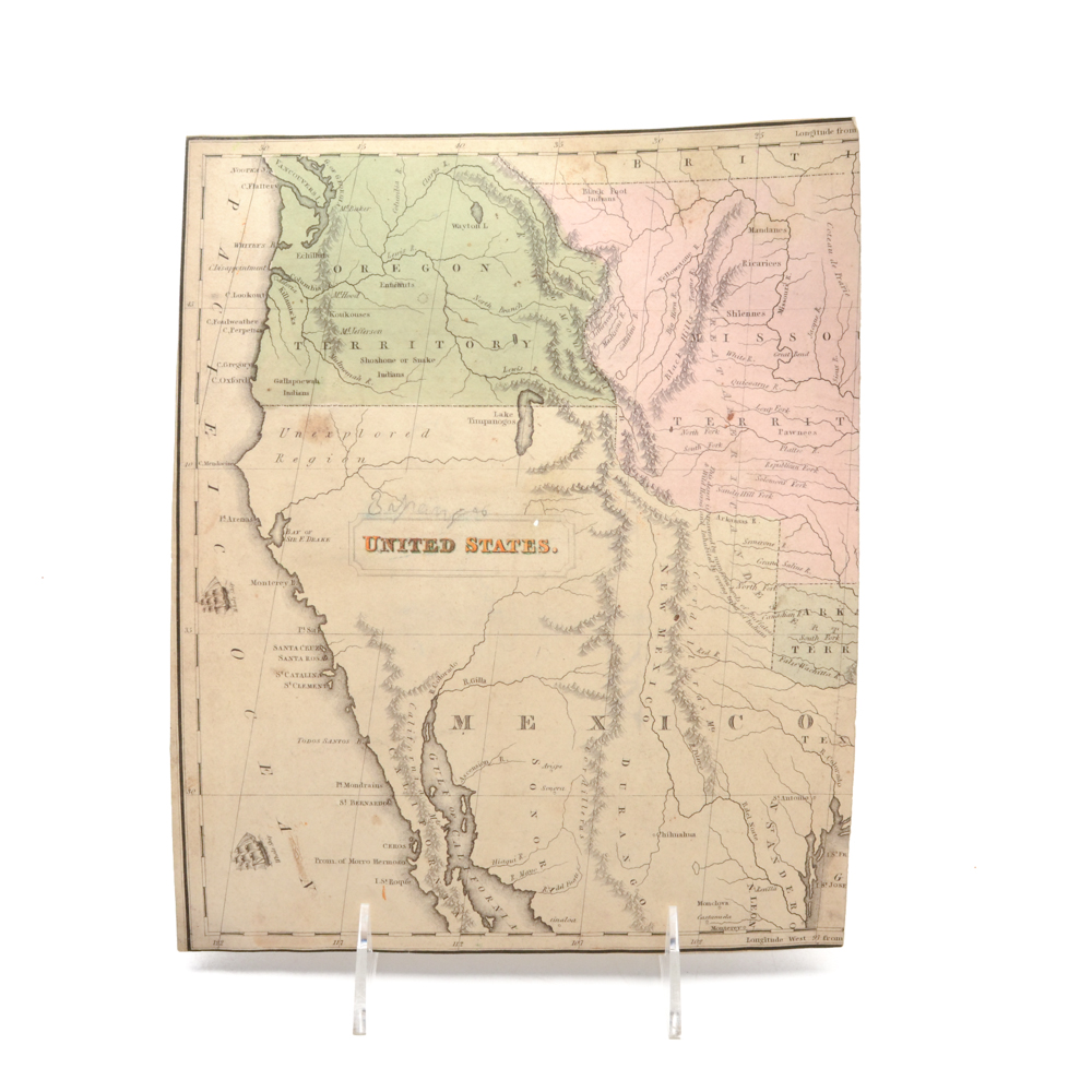 Circa Early 19th Century Unframed Map of the US West Coast EBTH